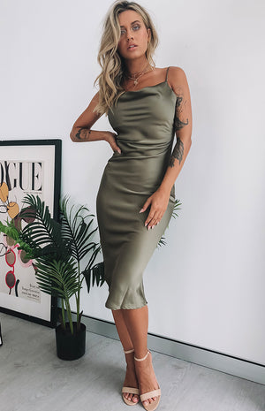 Schiffer Slip Midi Dress Khaki