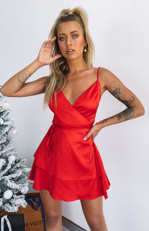 12 Nights Ruffle Dress Red