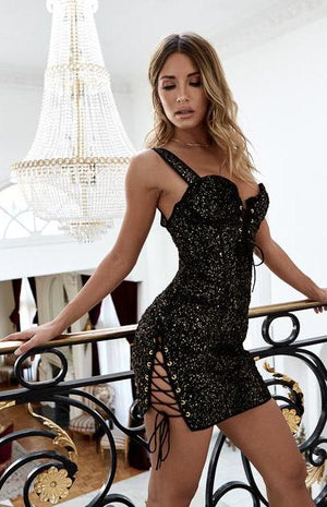 After Midnight Mini Dress Black and Gold