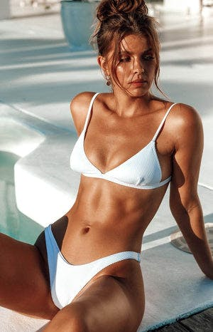9.0 Swim Elba Triangle Bikini Top White Rib