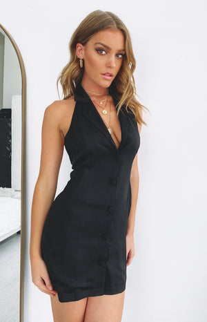 All About Confidence Sleeveless Blazer Dress Black