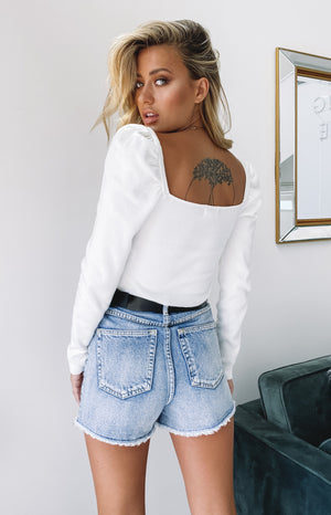 Artie Puff Sleeve Knit Top White