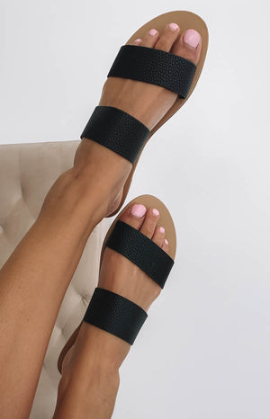 Billini Cuban Sandals Black Pebble