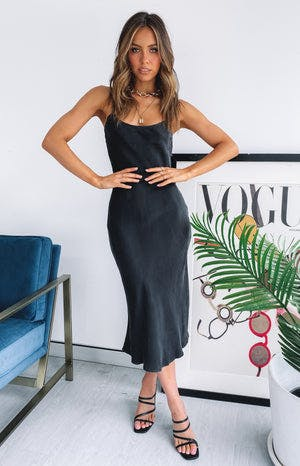 Beyond Her Bobbie Midi Slip Dress Washed Black