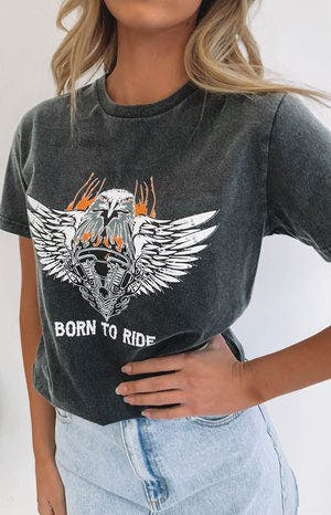 Born To Ride Acid Wash Tee