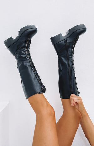 Careen Lace Up Boots Black