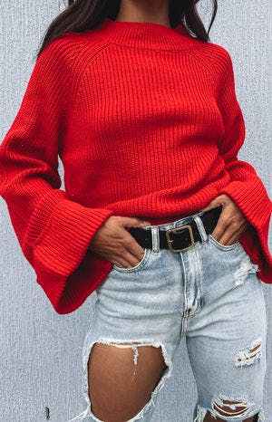 Chriselle Bell Sleeve Knit Red