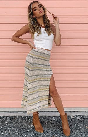 Stripe knit midi split skirt