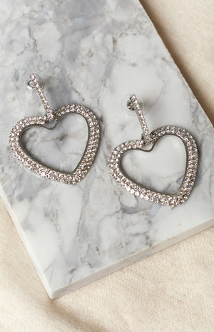 Eclat Philia Rhinestone Hoop Earrings Silver