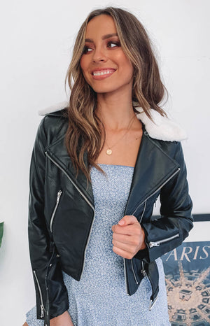 Elle Biker Jacket Black