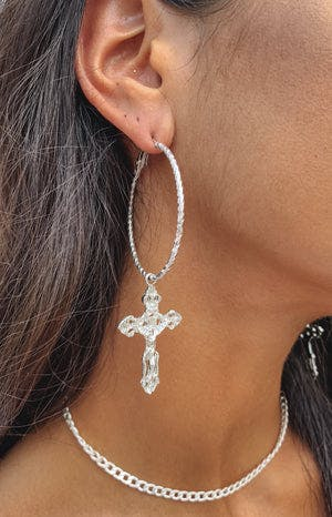Eclat Glory Cross Earrings Silver