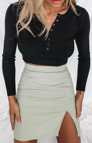 Sundream Mini Split Skirt Sage
