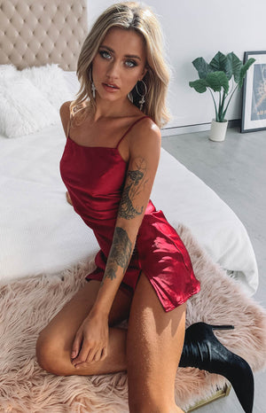 Jordyn Dress Red Satin