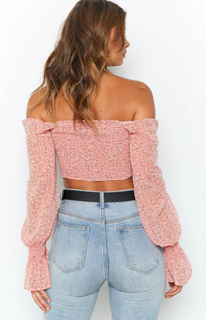 Keri Long Sleeve Crop Light Pink Floral
