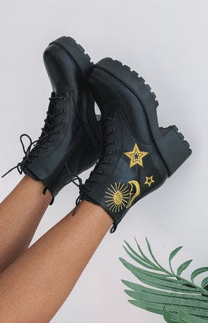 Koi Footwear Astro Star And Moon Chunky Boots Black