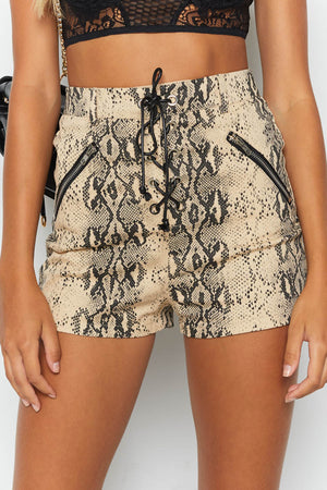 Lace Up Cobra Shorts Snake Print