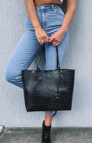 Peta & Jain Saint Tote Bag Black Croc