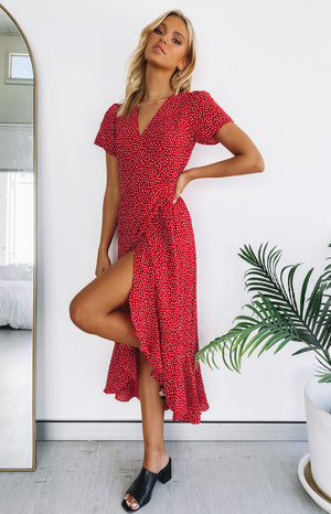 Lena Wrap Midi Dress Red Print