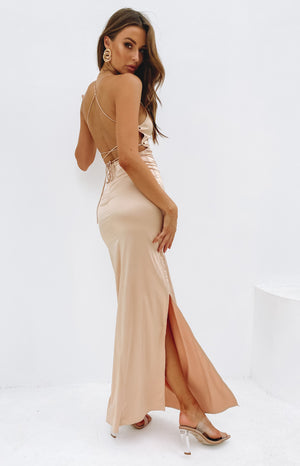 Manhattan Slip Formal Dress Champagne