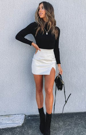 Rosario Split Skirt White PU