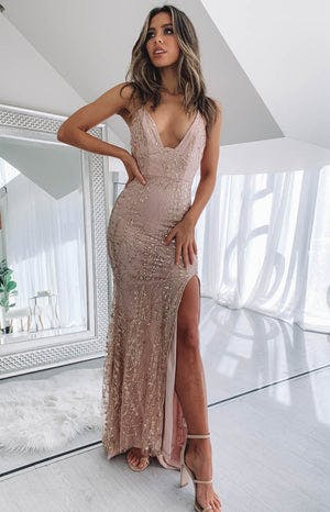 Saigon Formal Dress Gold Sequin