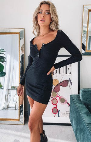 Skyler Ribbed Long Sleeve Dress Black