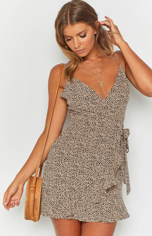 Sophia Dress Beige Polka