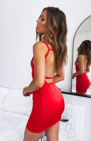 Star Treatment Party Mini Dress Red Satin