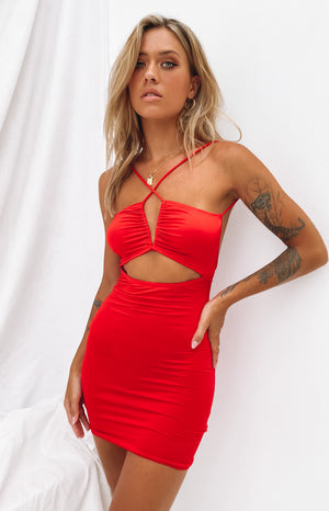 Thinking Out Loud Mini Dress Red