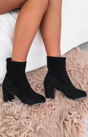 Therapy Hoxton Heeled Boots Black Suede