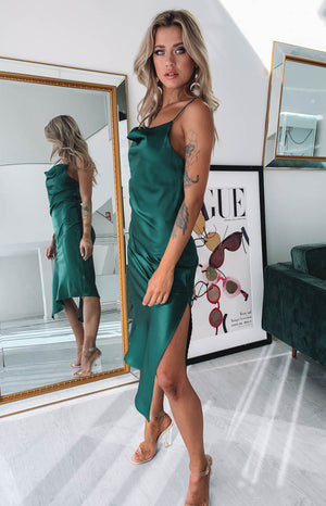 Tove Midi Dress Emerald Satin