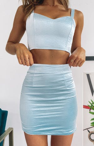 Zena Party Skirt Blue Satin