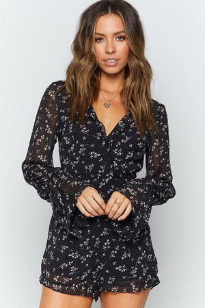 Rema Long Sleeve Playsuit Black Floral