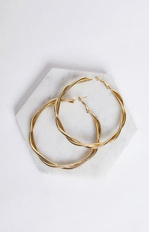 Eclat Entwined Hoop Earrings Gold
