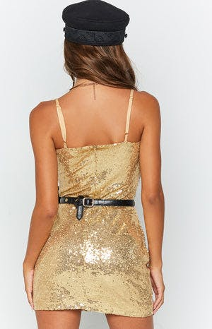 Ibizian Nights Dress Gold Sequin