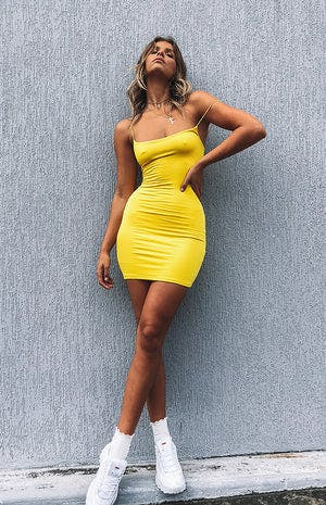 Basic Love Mini Dress Yellow