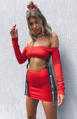 Raver Cut Out Dress Red