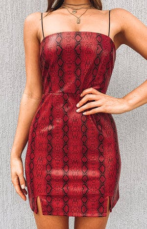 Electric Heart Dress Red Snake