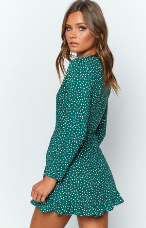 Step Up Long Sleeve Dress Green Print