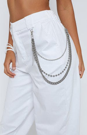Triple Threat Pant Chain Silver