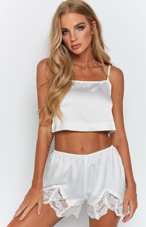 Lenore Satin Shorts White