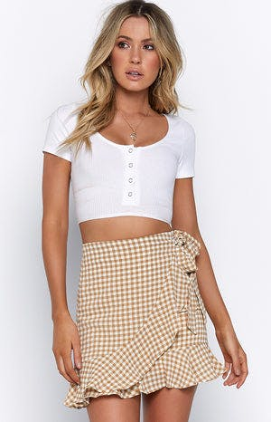 All Or Nothing Skirt Nude Gingham